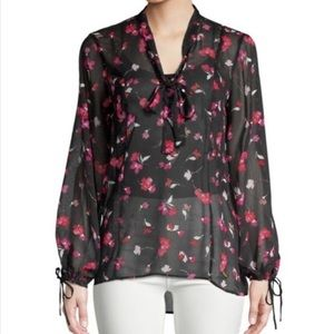Ellen Tracy Sheer Floral Bouse - Top